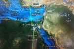 In-flight map as we cross the Sahara.