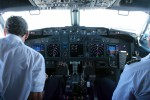 On the flight deck a few clicks north of Luxor, Egypt. Chief Pilot Capt. Zafeirakis Charalampos, left, was formerly the chief pilot at Olympic Airlines before the Greek national airline folded. Several of his Olympic colleagues, including the First Officer of this flight, followed Charalampos to RwandAir.