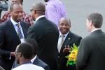 Rwanda's Minister of Infrastructure Albert Nsengiyumva greets RwandAir's CEO.