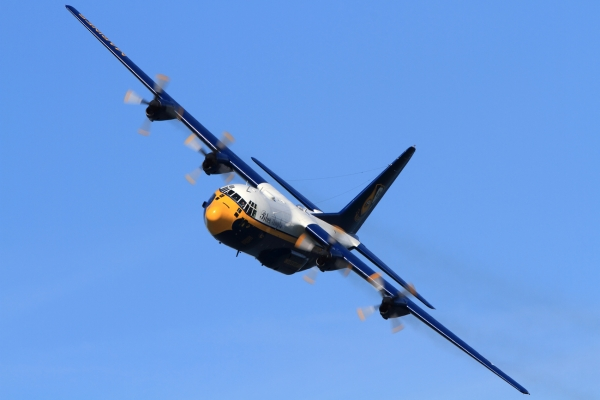 Fat Albert buzzes the crowd on Fort Mason.