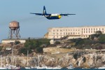 Fat Albert flies past Alcatraz.