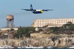 Fat Albert flies past Alcatraz.