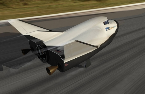 Sierra Nevada Corporation is set to conduct a high-altitude free-flight test of the company's dream Chaser space plane as early as this summer. (Rendering by SNC)