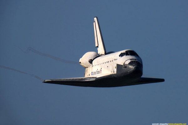 Space Shuttle Atlantis on short final for landing. (Photo by Suresh Atapattu)