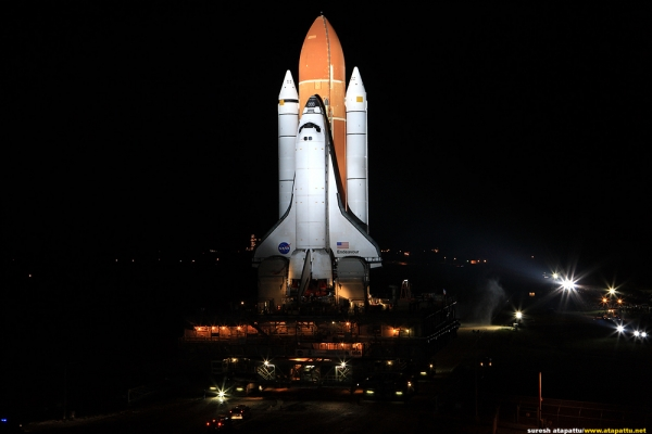 Space Shuttle Endeavour on final rollout to the pad for upcoming STS-134 mission. (Photo by Suresh Atapattu)