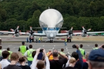 Super Guppy taxis to the podium. (Photo by Liem Bahneman/NYCAviation)