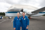 NASA astronaut/pilots Dick Clark and Mike Foreman pose in front of the Super Guppy they just flew in to Seattle. (Photo by Liem Bahneman/NYCAviation)