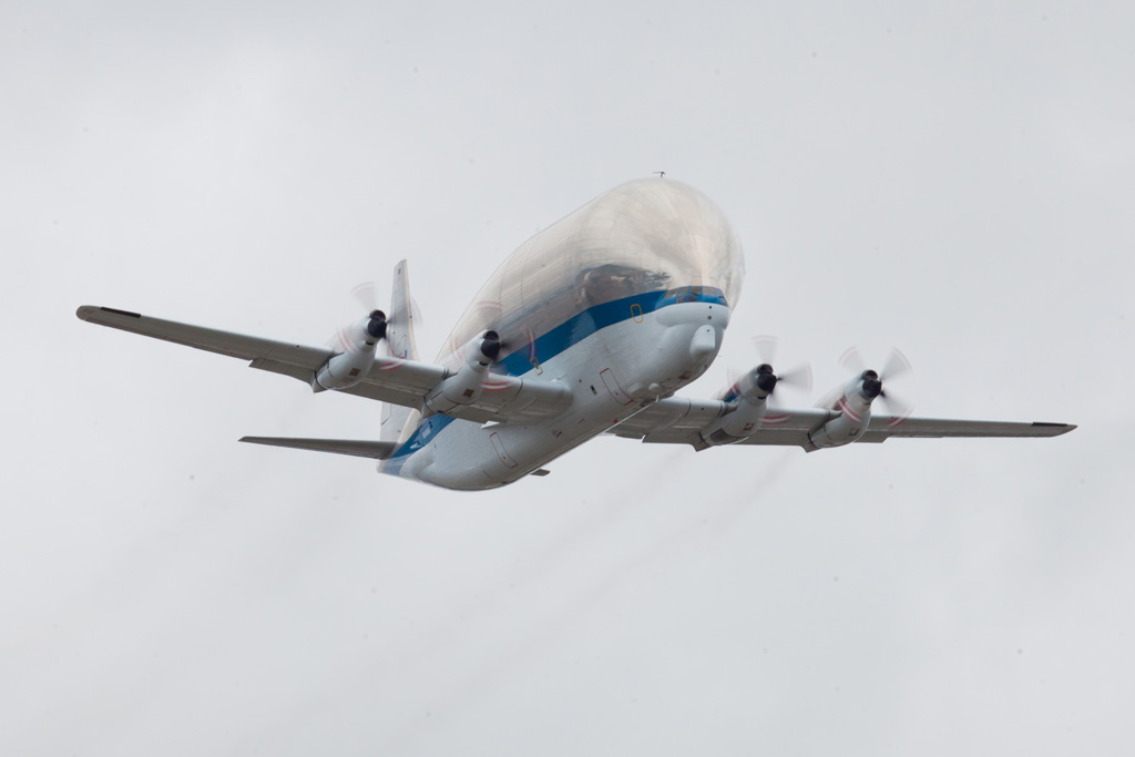 When it arrived in the Seattle area, the Super Guppy performed a pass over the Boeing Field runway. (Photo by Liem Bahneman/NYCAviation)
