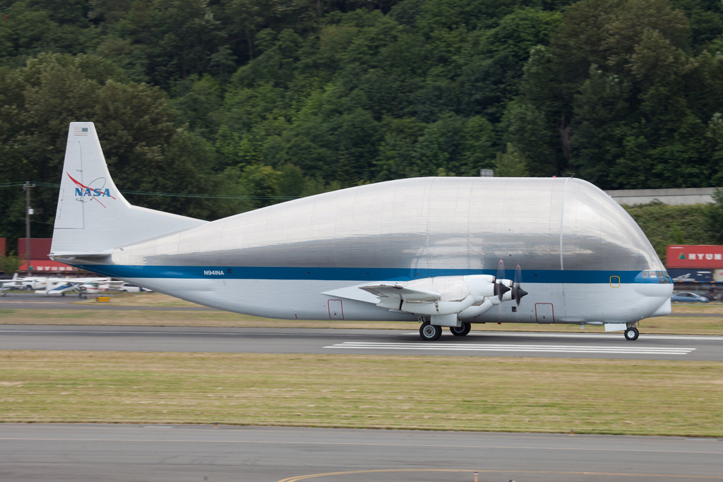Super Guppy rolling out at Boeing Field. (Photo by Liem Bahneman/NYCAviation)