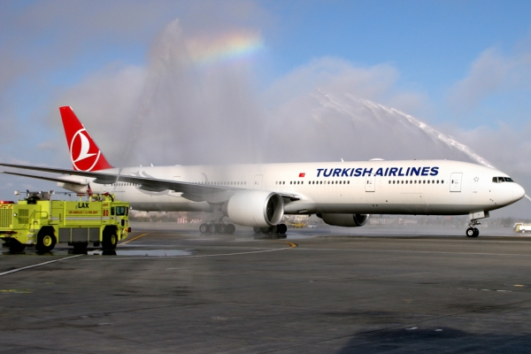Turkish Airlines first flight receives LAX water cannon salute. (Photo by Stephen Shrank/NYCAviation)
