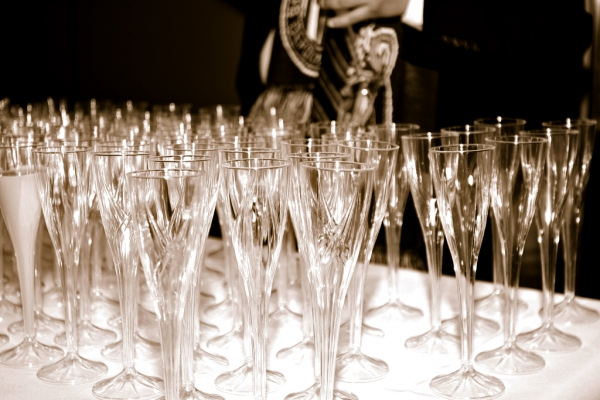 Champagne glasses at LAX Turkish Airlines ceremony. (Photo by Stephen Shrank/NYCAviation)