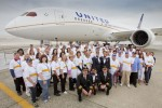 United Airlines employees pose with their new 787 Dreamliner. (Photo by Dan King/NYCAviation)