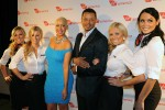 Terrence Howard and Amber Rose pose on the red carpet with Virgin America in-flight teammates at the Philadelphia hotspot, Hotel Palomar, to celebrate arrival of Virgin America's Inaugural Flight. (Bloomberg Photo/Virgin America Airlines, Bob Riha, Jr.)