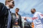 Philadelphia Mayor Michael Nutter greets Amber Rose and Seth Green as they step off the plane from Los Angeles. (Photo by Manny Gonzalez/NYCAviation)