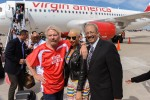Sir Richard Branson, Amber Rose and Congressman Chaka Fattah on the tarmac at PHL. (Photo by Manny Gonzalez/NYCAviation)