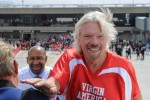 Sir Richard Branson and Mayor Michael A. Nutter board the plane. (Photo by Manny Gonzalez/NYCAviation)