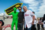 Green Man, Glenn Howerton and Sir Richard Branson pose in Philadelphia. (Photo by Manny Gonzalez/NYCAviation)