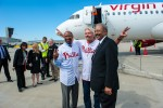 Sir Richard Branson, Mayor Michael A. Nutter and Congressman Chaka Fattah pose in front of Virgin America Airbus A320 N629VA 'Real Steel'. (Photo by Manny Gonzalez/NYCAviation)