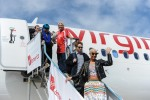 Sir Richard Branson welcomes special guests. (Photo by Manny Gonzalez/NYCAviation)