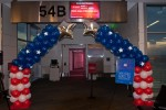 The entrance to the boarding gate for the inaugural flight.