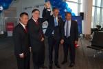 Senator Yee, President Obama (Reggie Brown), Governor Romney (Jim Gossett) and David Cush celebrating the ribbon cutting.