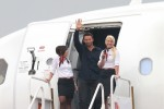 <em>Real Steel</em> star Hugh Jackman is introduced by Virgin America in-flight teammates. (Photo by Stephen Shrank)