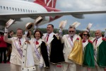 Portland's official Royal Rosarians greet our flight. (Photo by Jeremy Dwyer-Lindgren/NYCAviation)