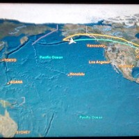 Photo of the passenger-viewable flight path map aboard Continental flight 9 on Tuesday, June 16.