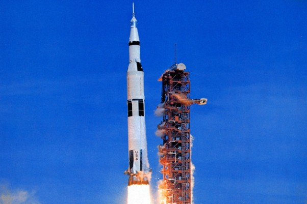Apollo 15 blasts off from Cape Canaveral. (Photo by NASA)