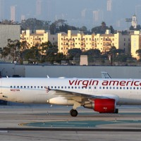 Virgin America Air Colbert N621VA taxis to the gate at LAX