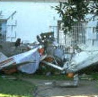 The wreckage of the Cessna 150 that crashed into the south lawn of the White House in 1994.