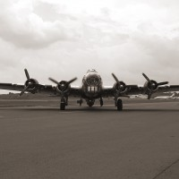 "B-17 ""Yankee Lady"", seen here with a nice antiqued photographic effect, will be at this year's Wings and Wheels Expo. (Photo by Melanie Rose)"