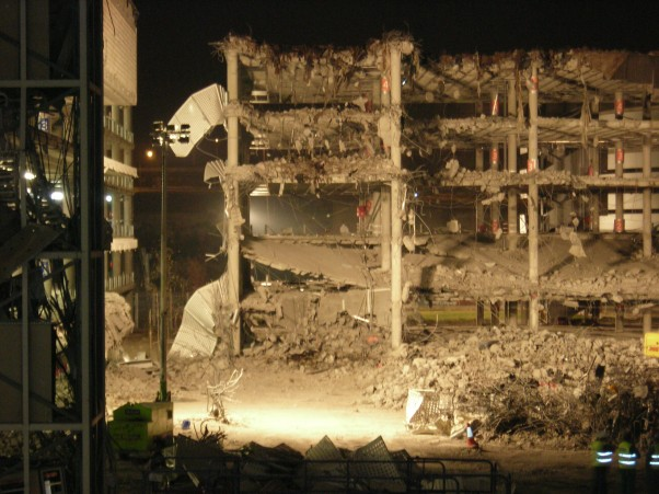 The destroyed airport parking garage that was bombed in Madrid, Spain in 2006.