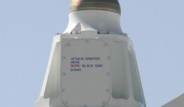The mounting point for the Space Shuttle seen here on the SCA has this funny reminder on it.