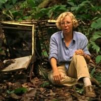 LANSA Flight 508 survivor Juliane Köpcke sitting among some of the wreckage from the crash years later.