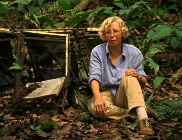 LANSA Flight 508 survivor Juliane Köpcke sitting among some of the wreckage from the crash years later.