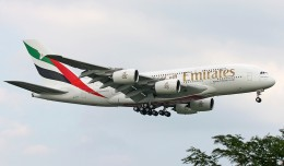 Emirates Airbus A380 A6-EDA makes its first approach to JFK in New York, August 1, 2008