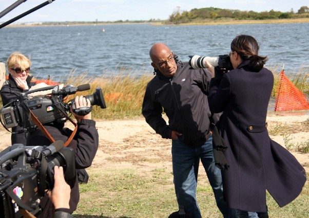 Al Roker and Ann Curry having a good time while taking in some spotting at Bayswater Park.