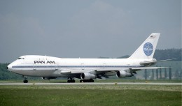"Pan Am Boeing 747-100 ""Clipper Neptune's Car"" (N742PA) seen in Zurich, 1985. (Photo by Eduard Mamet via wikimedia)"