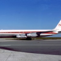 A TWA Boeing 707-300 at Paris Charles De Gaulle Airport. (Photo by Michel Gilliand via wikimedia)
