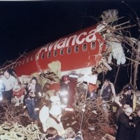 The wreckage of Avianca Flight 52 following a crash on January 25, 1990.