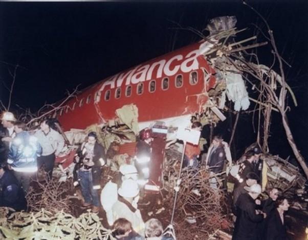 The wreckage of Avianca Flight 52 following a crash on January 25, 1990.