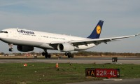 A Lufthansa Airbus A330-300 (reg D-AIKI) touches down at JFK Airport in New York. Photo by Tom Alfano.