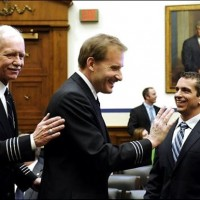 Controller PAtrick Harten greets US Airways 1549 Captain Sullenberger and First Officer Skyles at a hearing with the house Aviaiton Subcommittee.