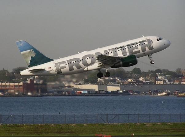 """Mountain Goat"" gets air at LGA. Expect more of this in New York at Frontier increases flights to 3 daily start April 19, 2010. (Photo by Ron Peel)"