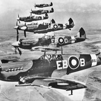 6 Supermarine Spitfires in flight.