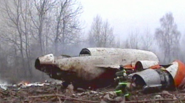 Wreckage of Polish Air Force Tu-154M 101 in Smolensk, Russia
