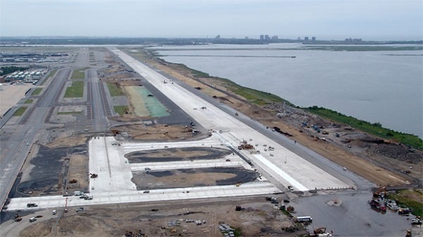 Aerial view of the Bay Runway under construction. (Photo courtesy of The Port Authority of New York and New Jersey)