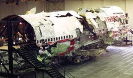 The wreckage of the Boeing 747-100 that operated TWA Flight 800 was reconstructed in a hangar. (Photo by NTSB)