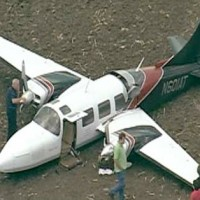 This 1976 vintage Aerostar 601 (N601AT) sits in a Texas field after crash landing. (Photo courtesy of myfoxdfw.com)